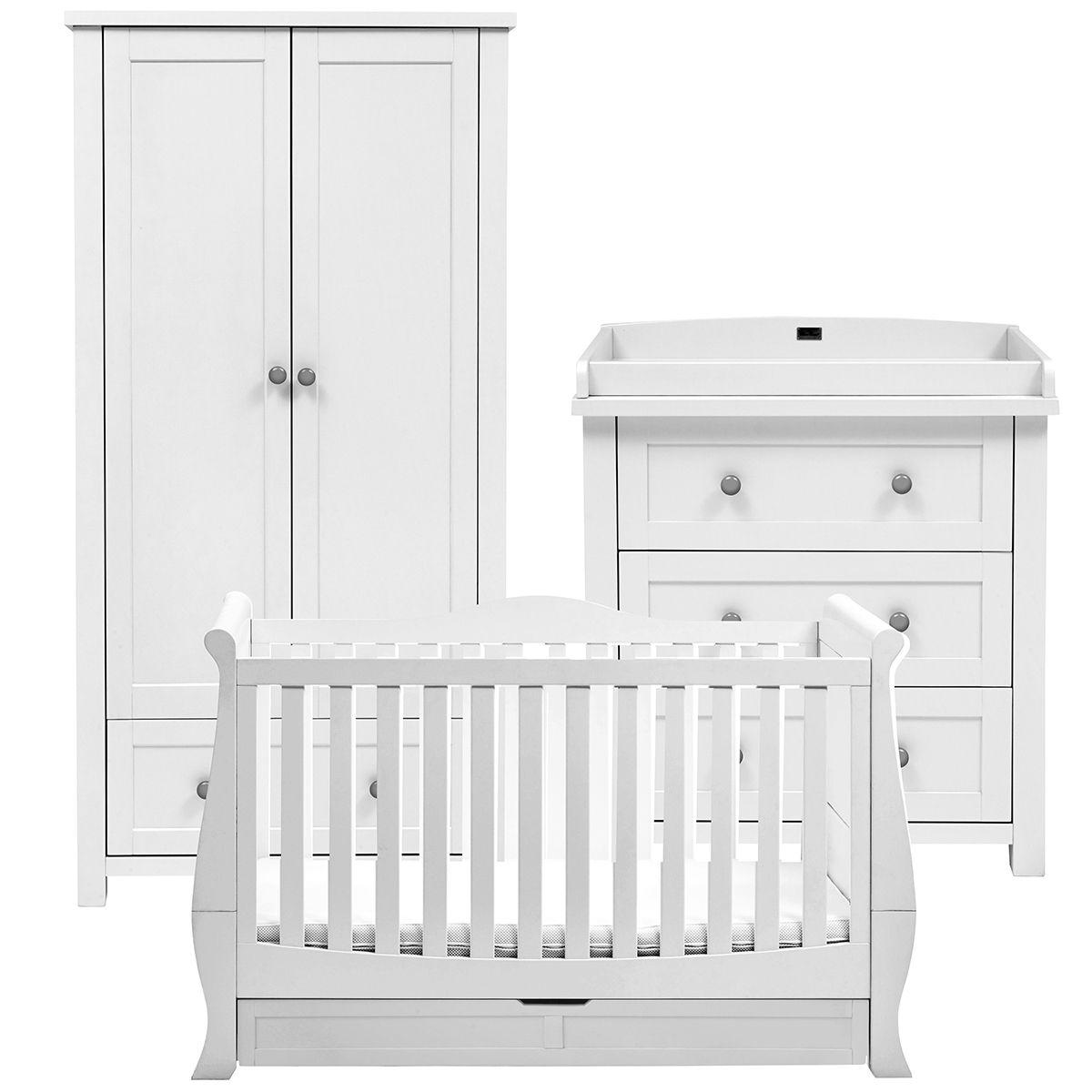 Nostalgia Complete Nursery Set Sleigh Cot Bed Dresser Wardrobe Sleigh Cot Bed Cot Bedding Nursery Furniture Sets