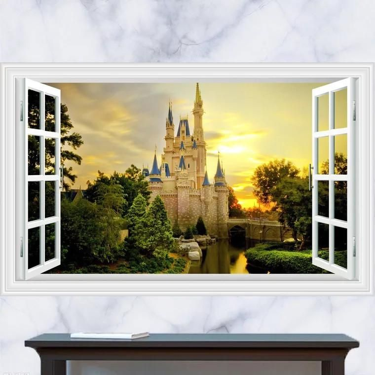 Dnven x full colour high definition dreaming ancient old castles false faux window frame window mural vinyl bedroom living room playroom wall decals
