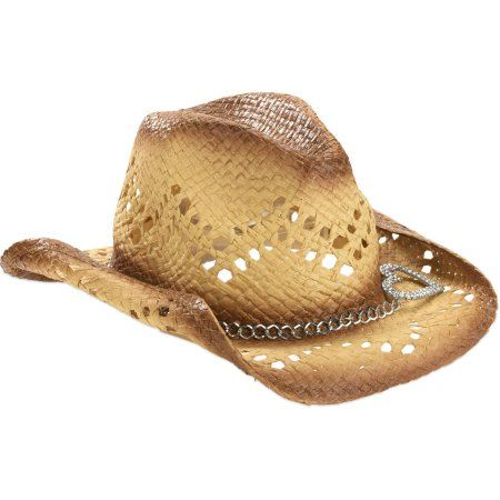 1c3b0df99 Faded Glory Women's Cowboy Straw Hat with Heart Accent, Multicolor ...