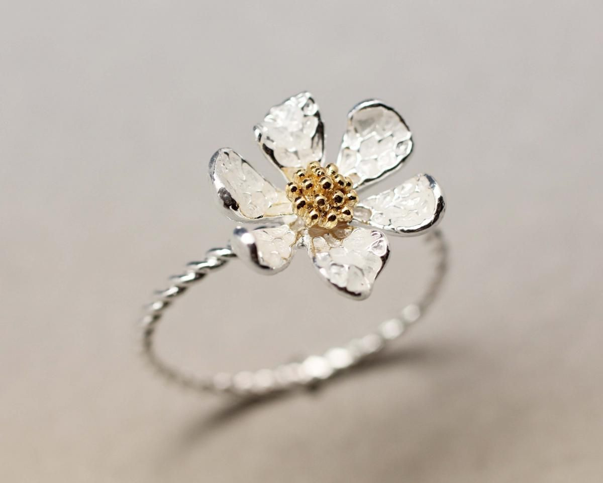 7957ff7a7 Danity White Daisy Flower Ring in 2019 | Western jewellry | Daisy ...
