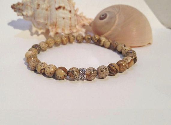 Picture Jasper Mens bracelet Silver mens by JewelzonJewelz on Etsy