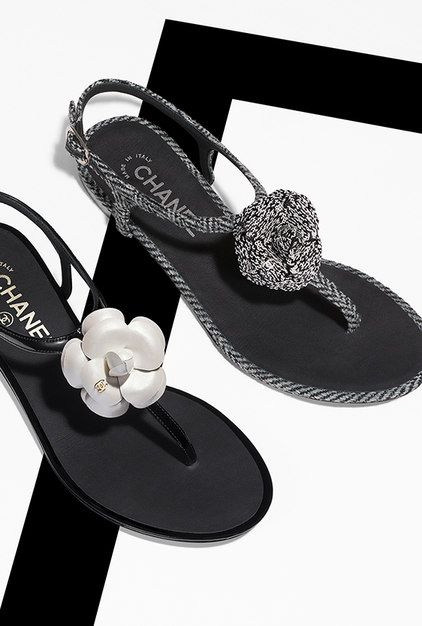 c2e9b77d95ba Patent calfskin sandals embellished with... - CHANEL