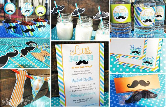 Instant Download Baby Shower Little Man Mustache Bash Printable