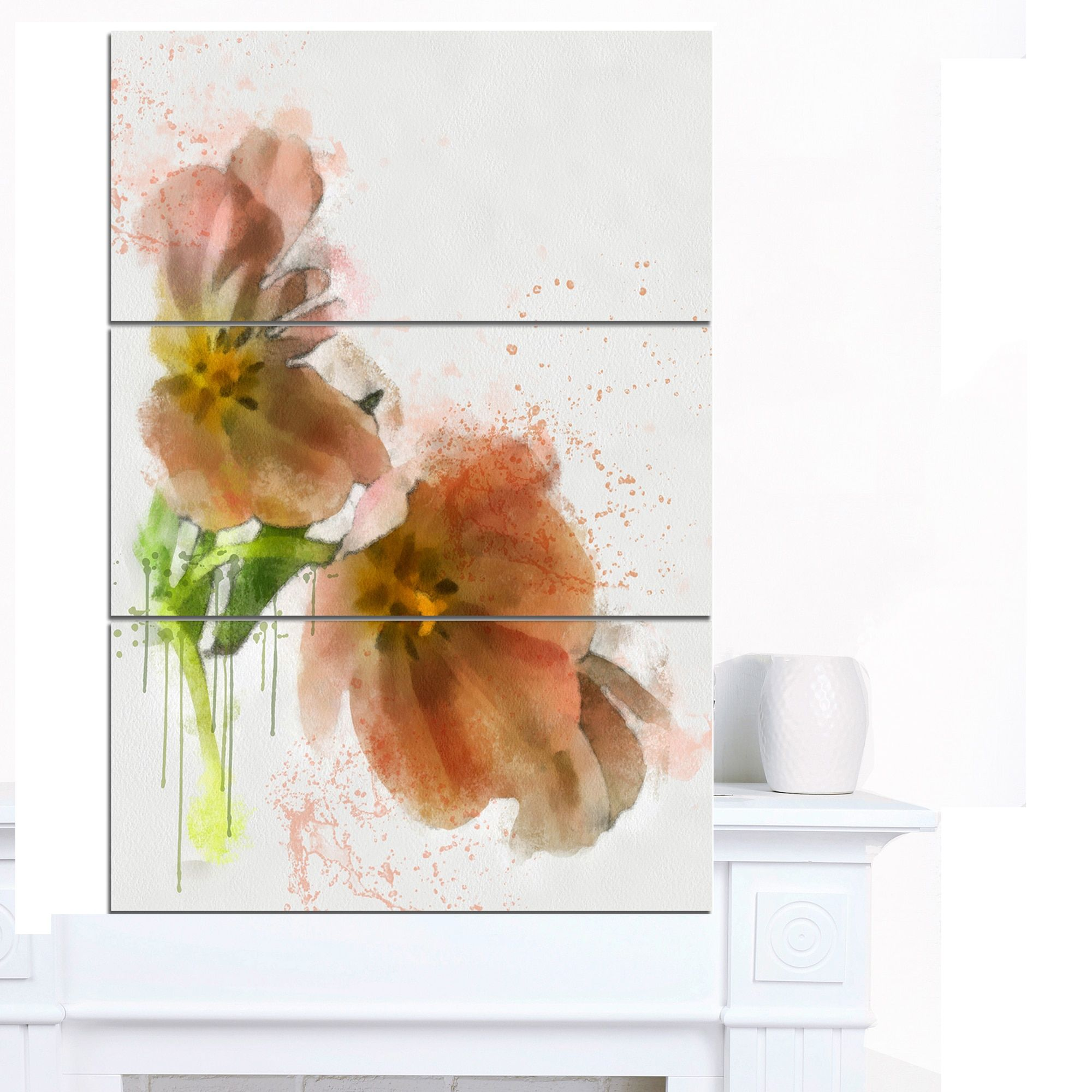 Designart ' Tulips Sketch Watercolor' Modern Floral Canvas Wall Art