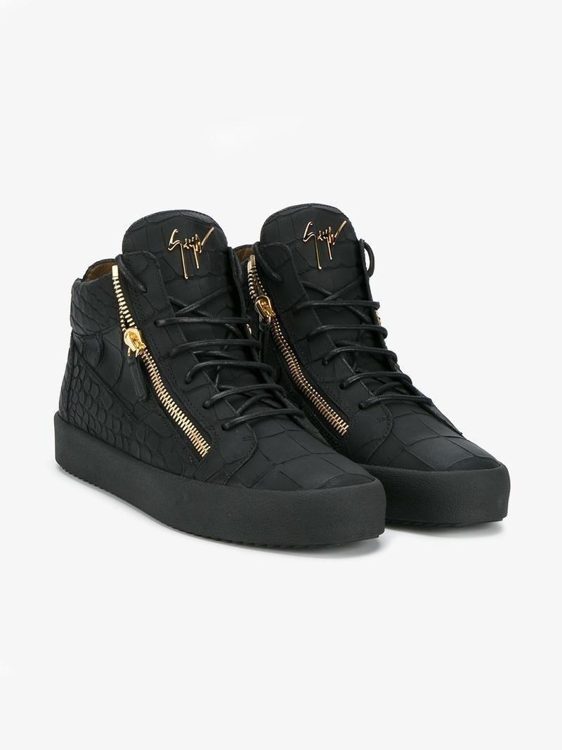 GIUSEPPE ZANOTTI CROCODILE-EMBOSSED HIGH-TOP SNEAKERS. #giuseppezanotti #shoes #sneakers
