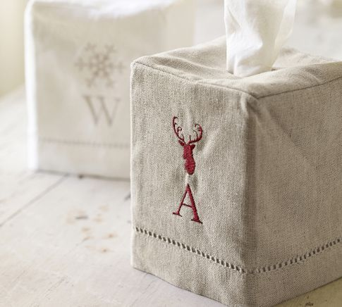 Linen Hemstitch Tissue Box Cover Tissue Box Covers