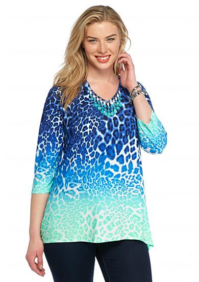 2e4d52b00b094 Ruby Rd Plus Size Keeping It Cool Ombre Animal Print Top