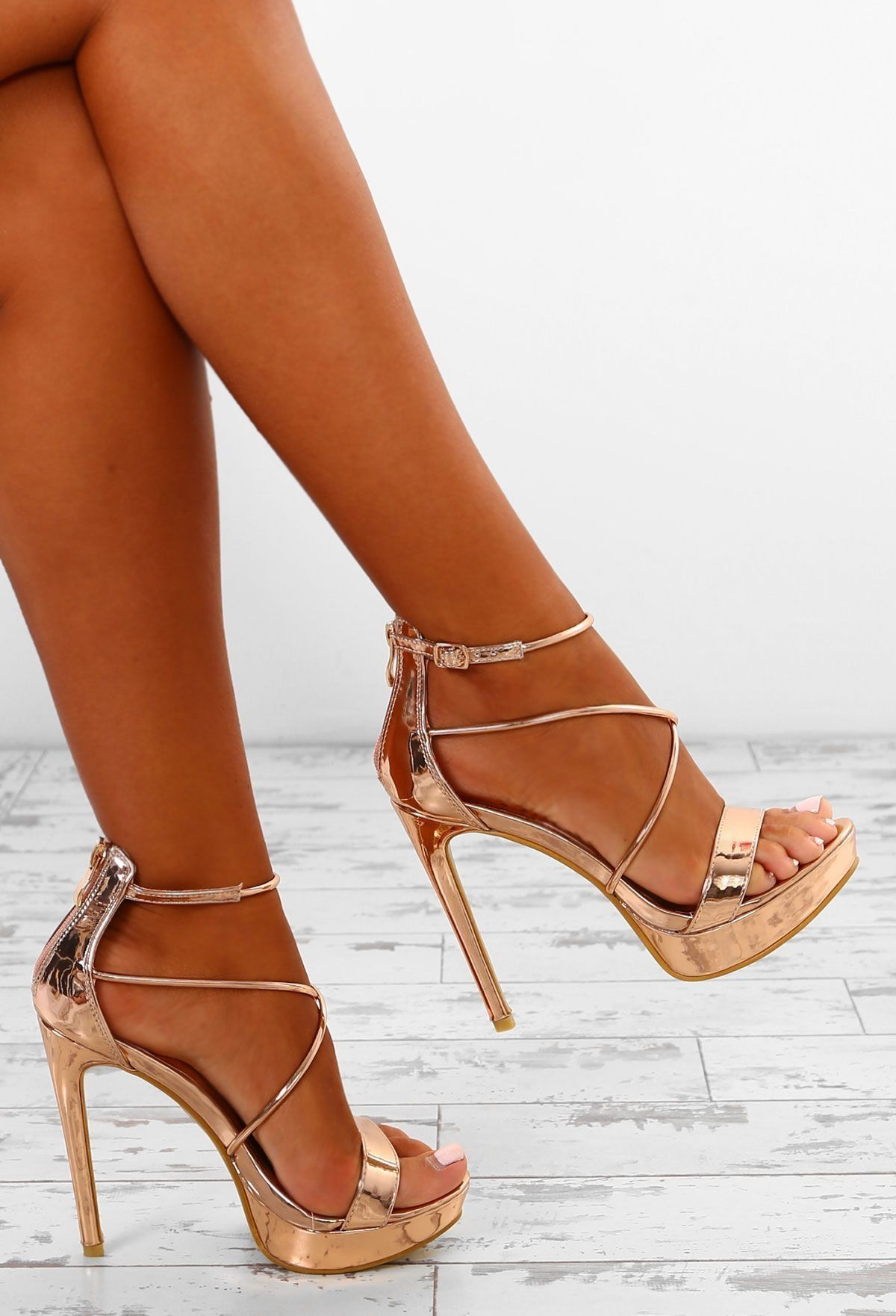 afbabdaae31f Maneater Rose Gold Barely There Platform Heels - UK 7 in 2019