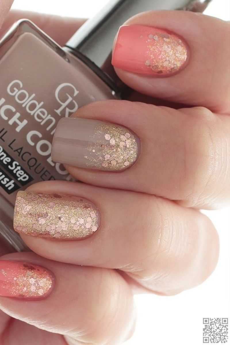Coral Taupe And Gold Glitter