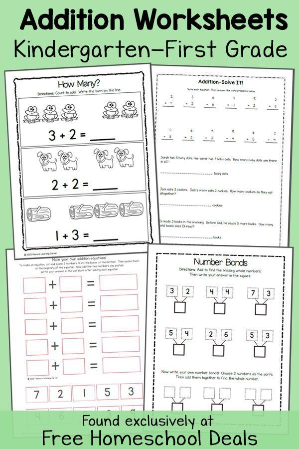 Free Addition Worksheets K 1 Instant Download Free Homeschool Curriculum Homeschool Math Homeschool Kindergarten Free kindergarten curriculum worksheets