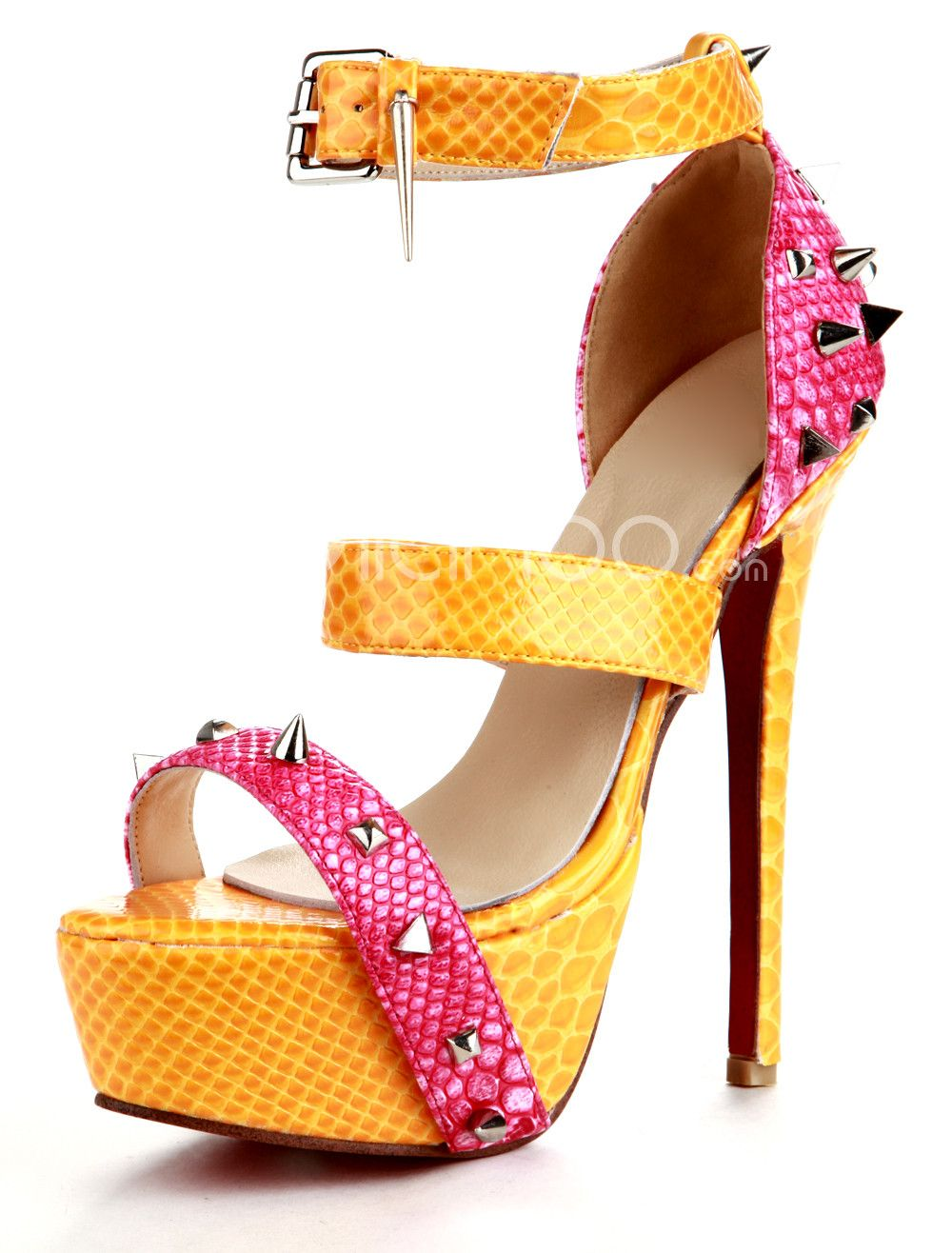 Gold Criss-Cross PU Womans Peep Toe Shoes - Milanoo.com