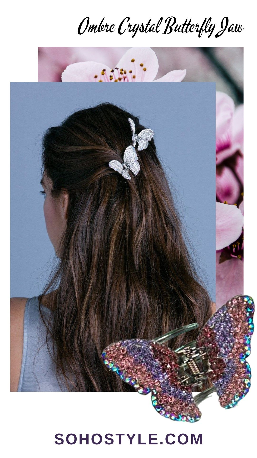Spring Festival Coachella Hairstyle Ombre Crystal Butterfly Hair Jaw Luxury Hair Extensions Coachella Hair Ombre Crystal