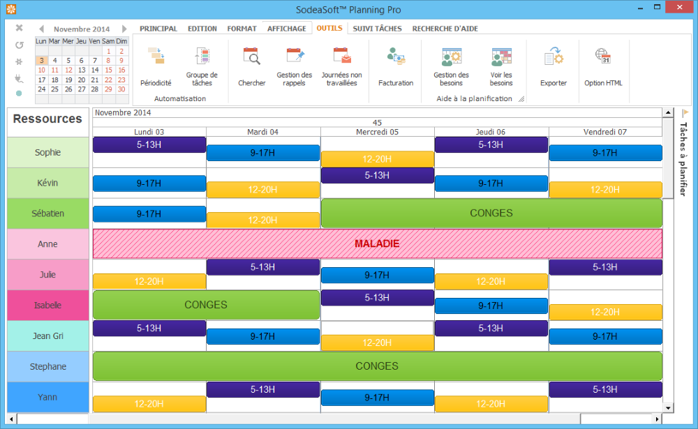 Modèle Exemple Planning horaire salarié et de congés payés ...