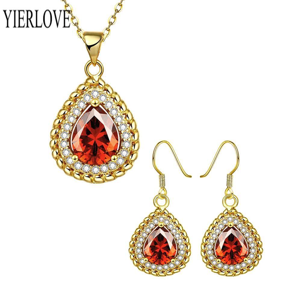 Yierlove fashion environmental alloy anti allergy zircon jewelry set