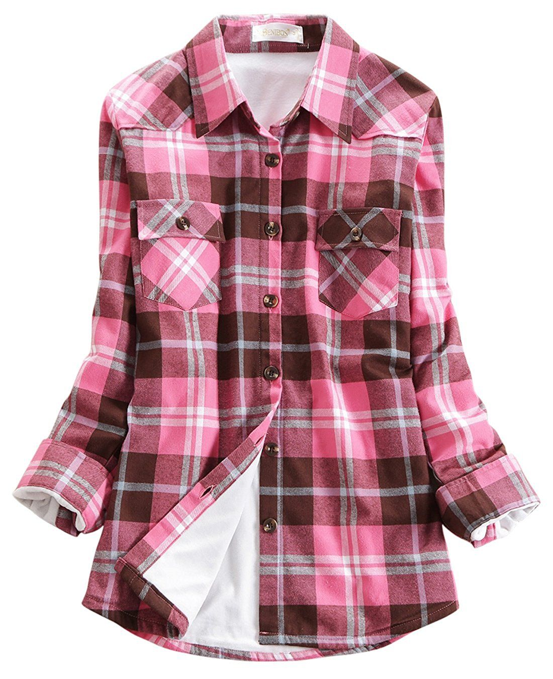 Fleece vs flannel  Chouyatou Womenus Winter Fleece Lined Plaid Flannel Buttoned Shirt