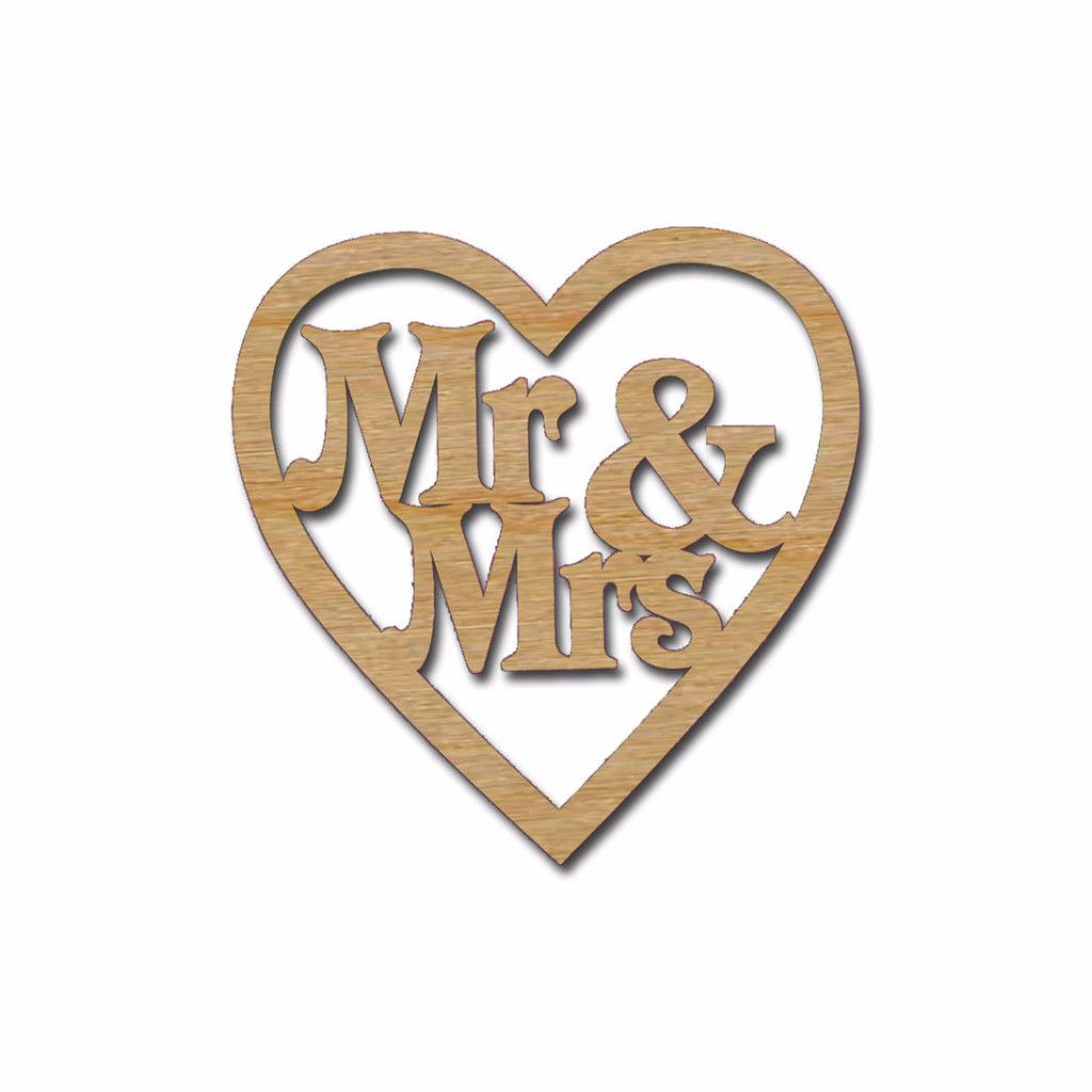 Mr & Mrs in Heart Unfinished Wood Wedding Decorations | Wedding ...