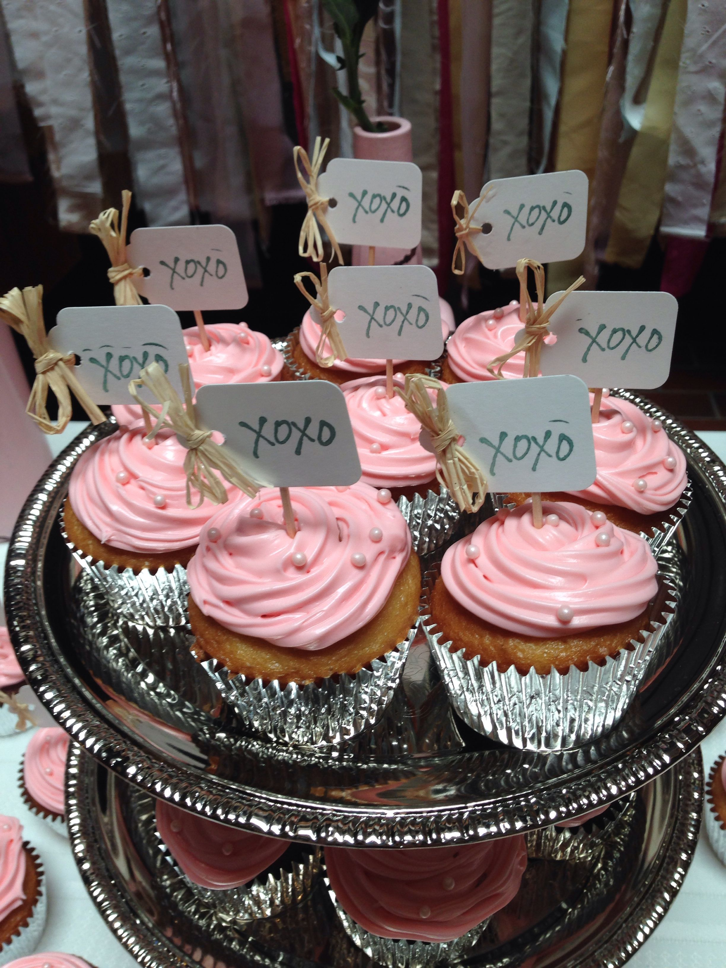 Bridal shower cupcakes. Stamped tags with raffia. Tags and