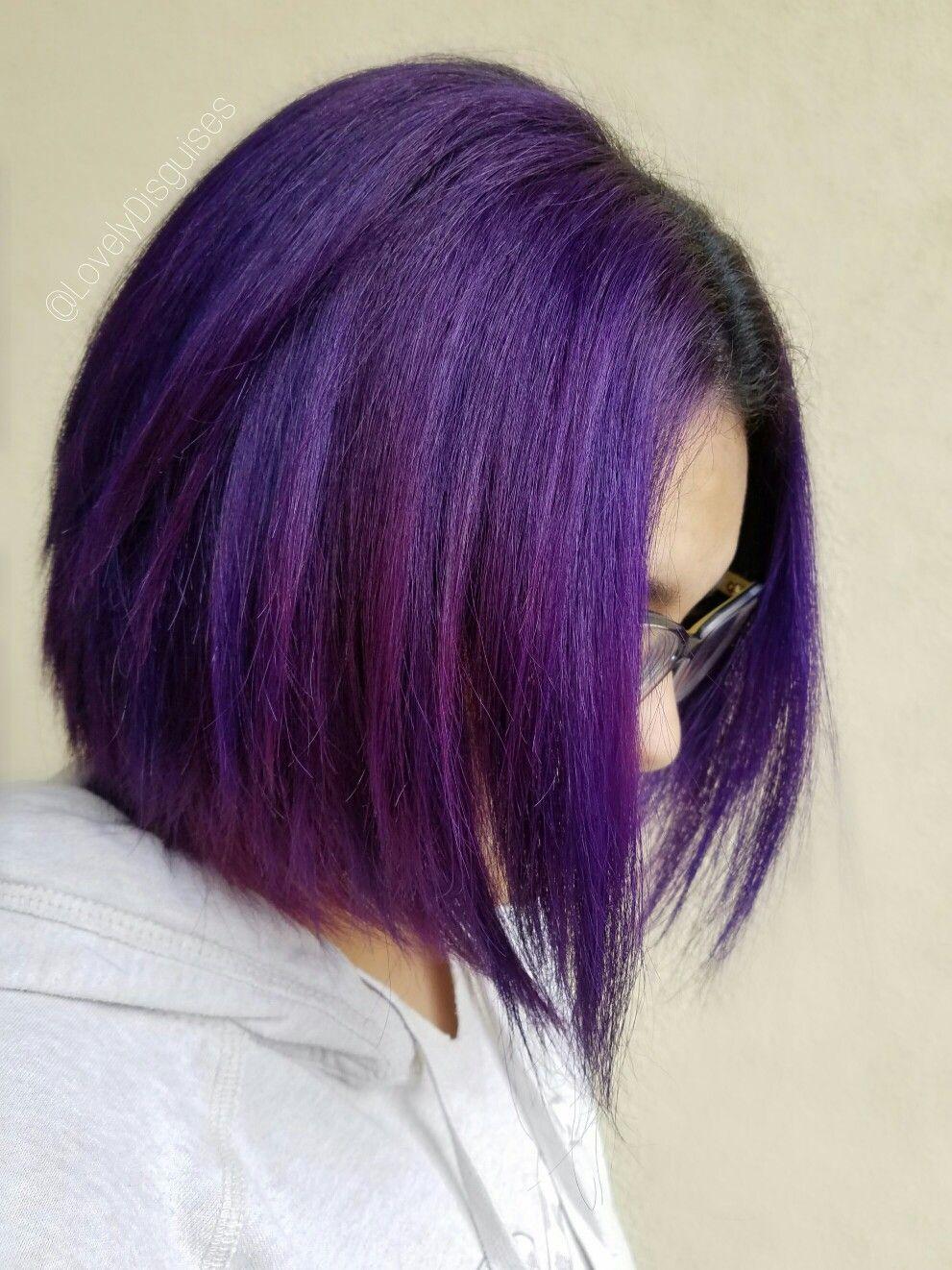 Purple hair bob sombré balayage ombré color melts highlights