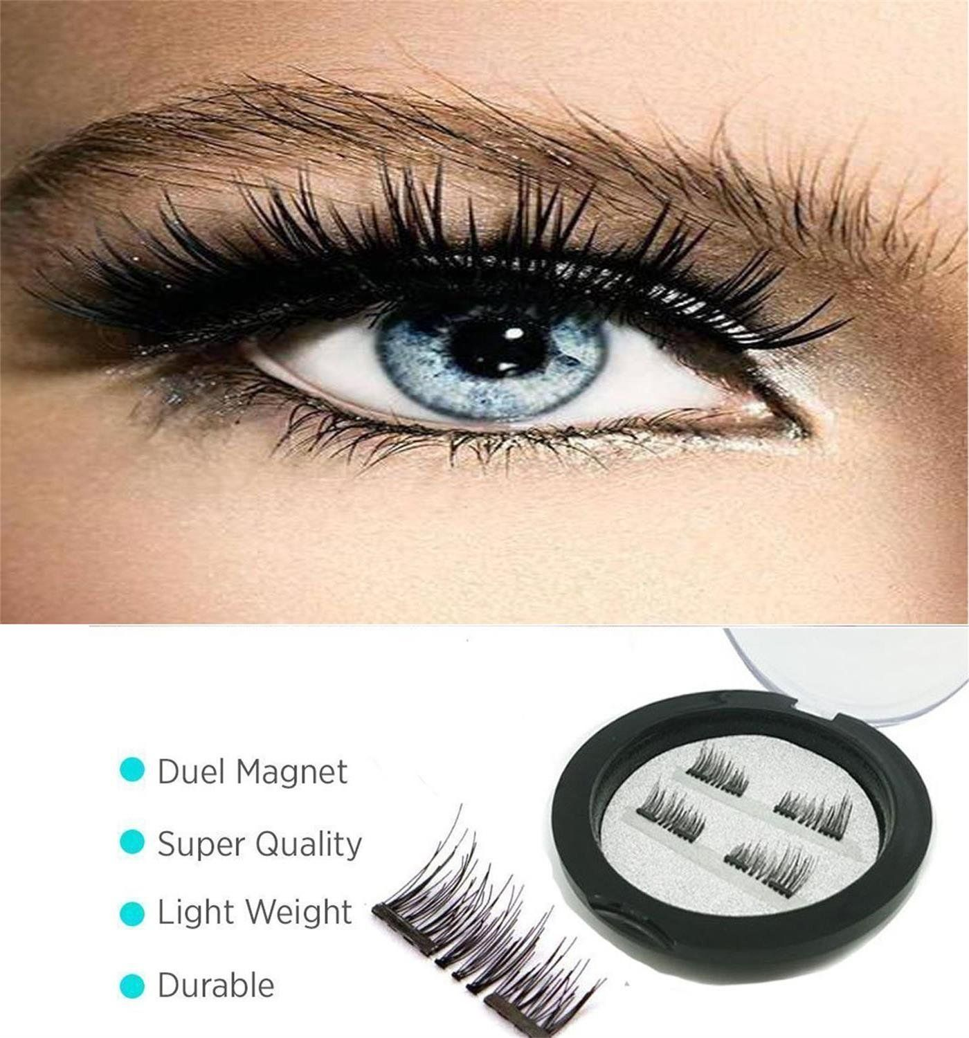 ece638ca757 Dual Magnetic False Eyelashes[No Glue], Cover the entire eyelids ,Cruelty  Free