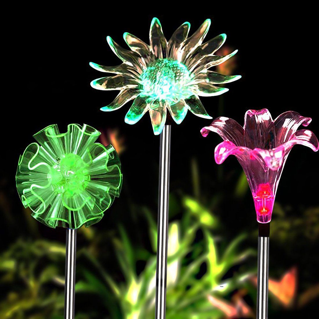 Solar Garden Lights   3 Pack Solar Powered Garden Stake Lights With A  Purple LED Light