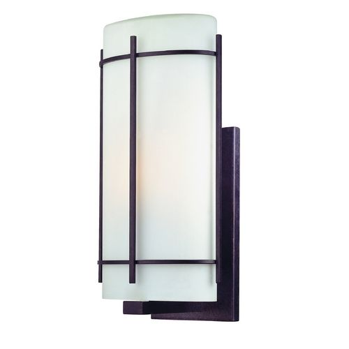 Outdoor Wall Light with White Glass in Olde World Iron Finish at Destination Lighting