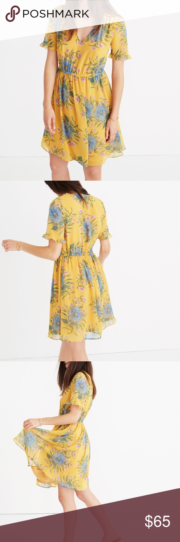 48ecc2cb75 Madewell Sweetgrass Ruffle-Sleeve Dress Sweetgrass Ruffle-Sleeve Dress in Painted  Blooms