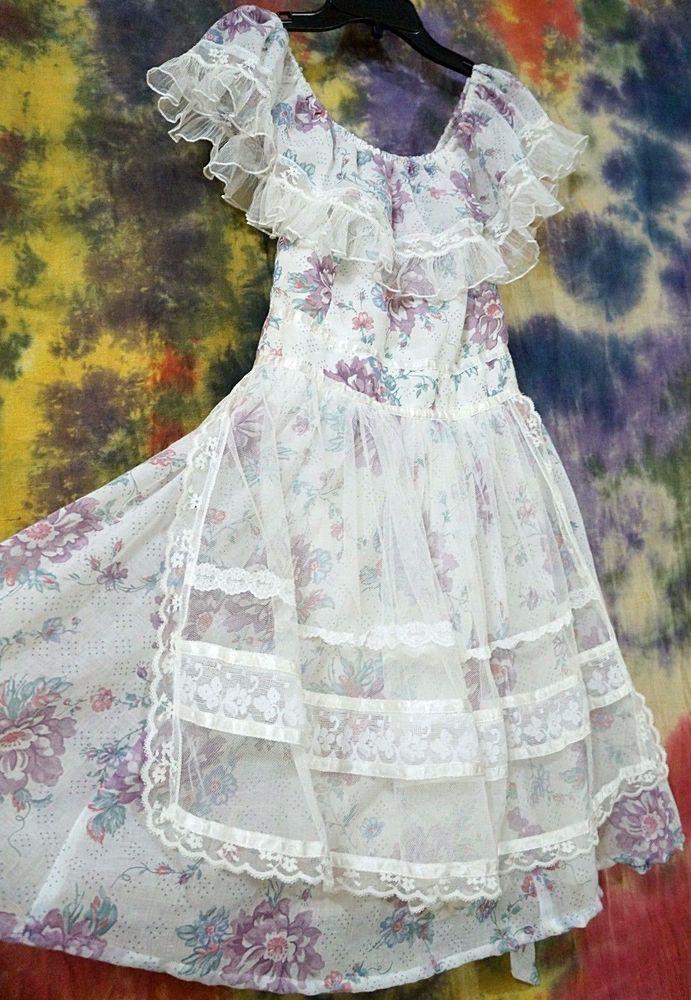 VTG 70s Boho Gunne Sax Girls Dress Size 11 Bohemian Prairie Lace ...