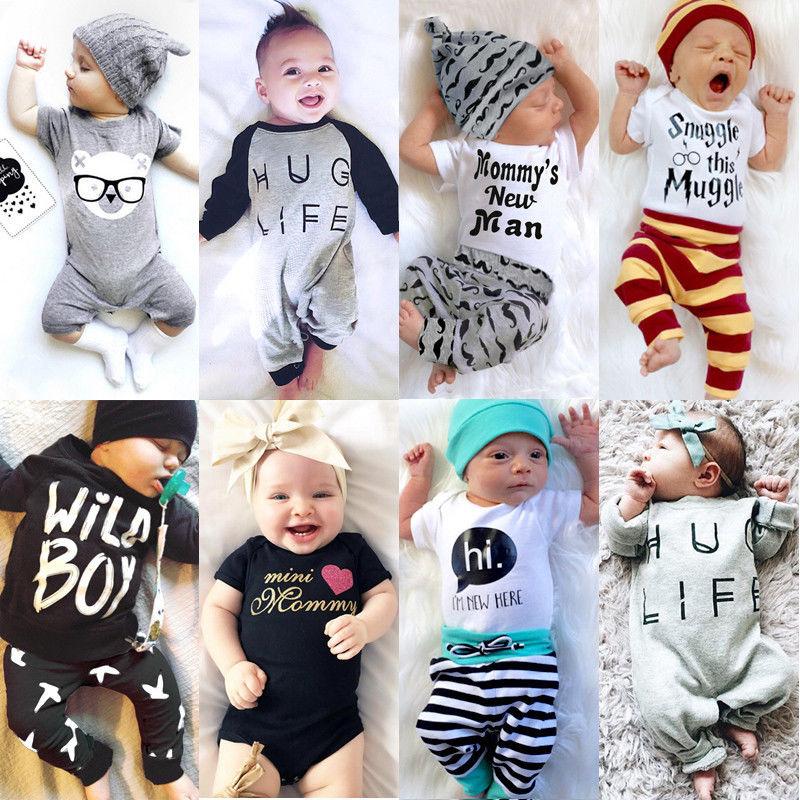 US Newborn Baby Boy Girl Tops Romper Bodysuit Jumpsuit Pants Outfits Clothes Set