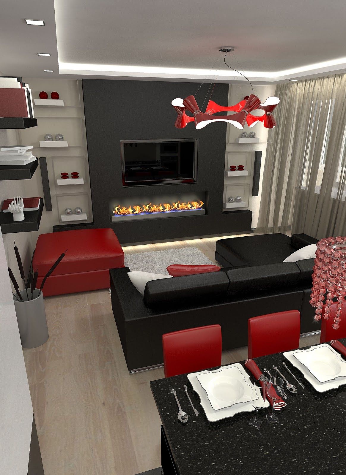 30 Black And White Decor Ideas For A Super Chic Space 100 Home Decor Ideas Red Living Room Decor Black And Red Living Room Black Living Room Decor #red #and #gold #living #room