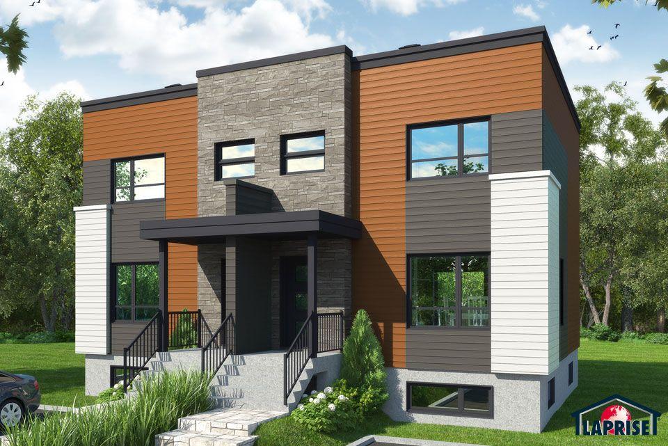Zen / Contemporain, Jumelés  Bi-Génération LAP0428 Maison - Modeles De Maisons Modernes