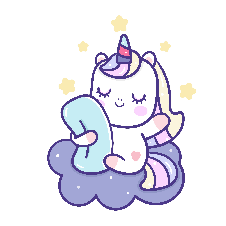 Cute Unicorn Vector Sleep Pony Cartoon On Cloud Good Night Unicorn Wallpaper Unicorns Vector Unicorn Pictures