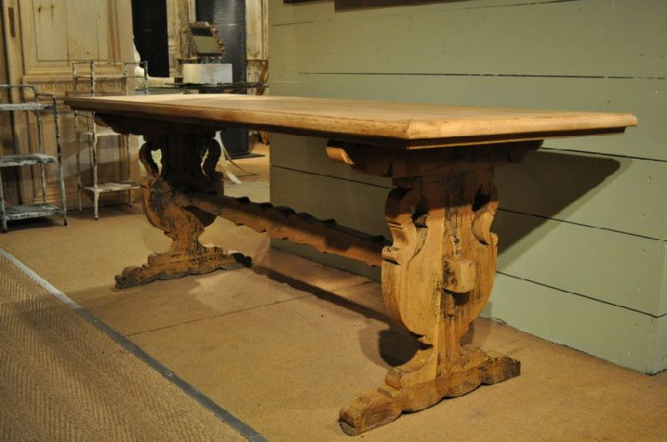 French Vintage Bleached Oak Trestle Table with Inlaid Top ...