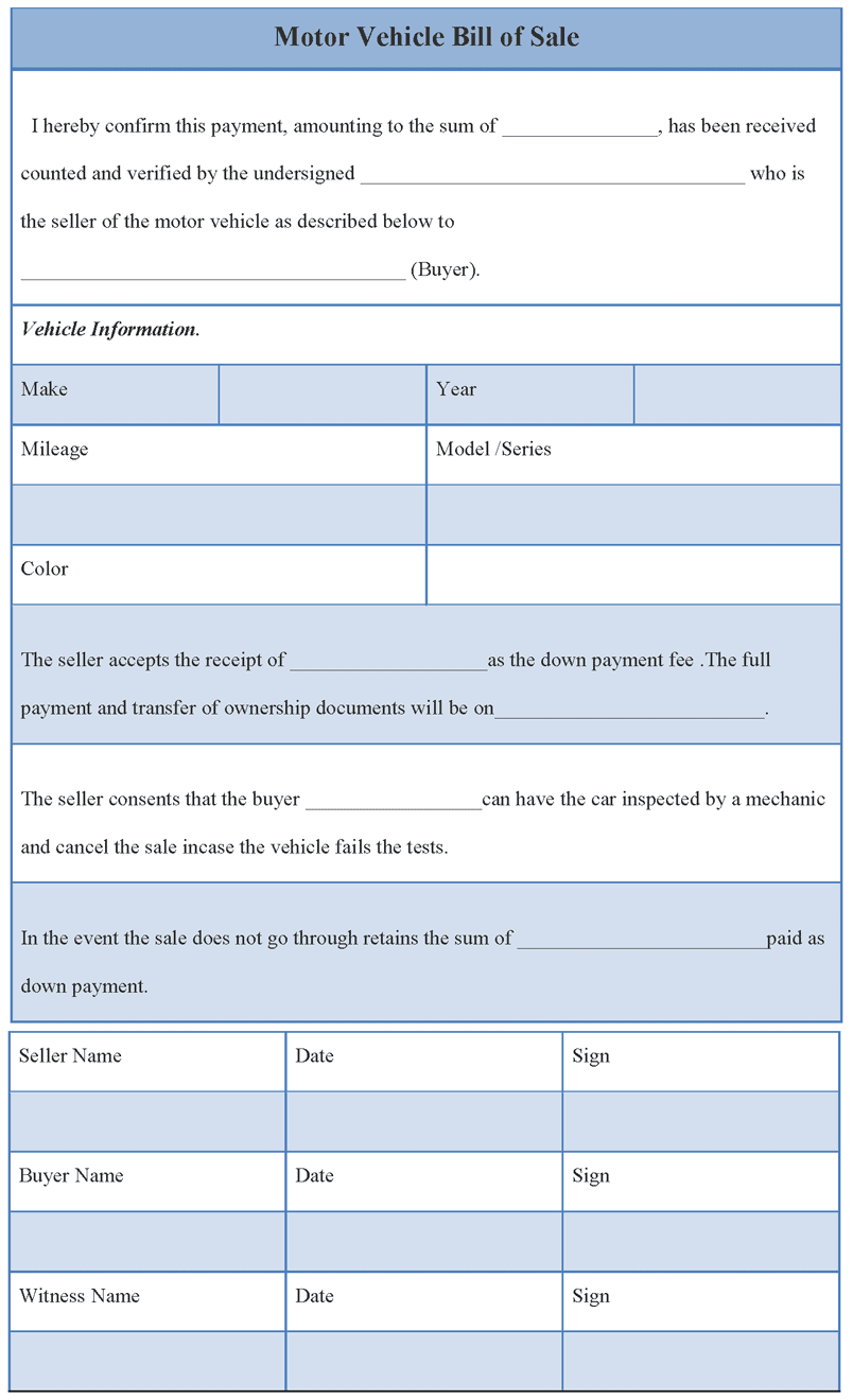 Bill Of Sale Template For Vehicle Bill Of Sale Template Motor Car Bills