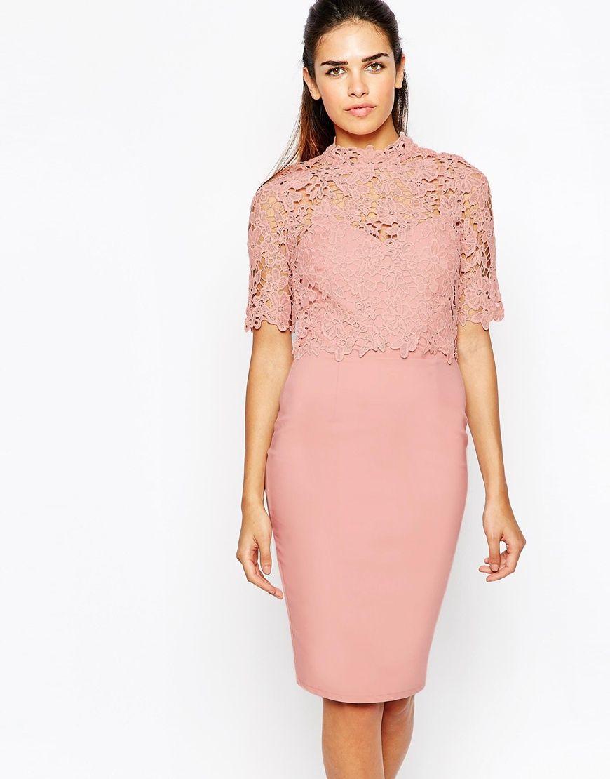 Image 1 of Paper Dolls Lace Top Detail Pencil Dress | váy | Pinterest