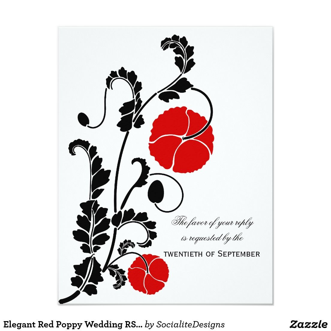 Elegant Red Poppy Wedding RSVP / Reply Cards | Wedding rsvp, Rsvp ...
