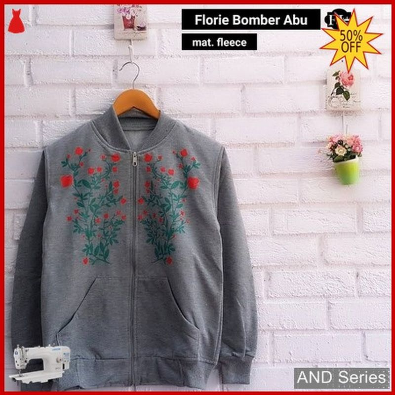 AND252 Jaket Wanita Florie Bomber Grey Jaket (With images