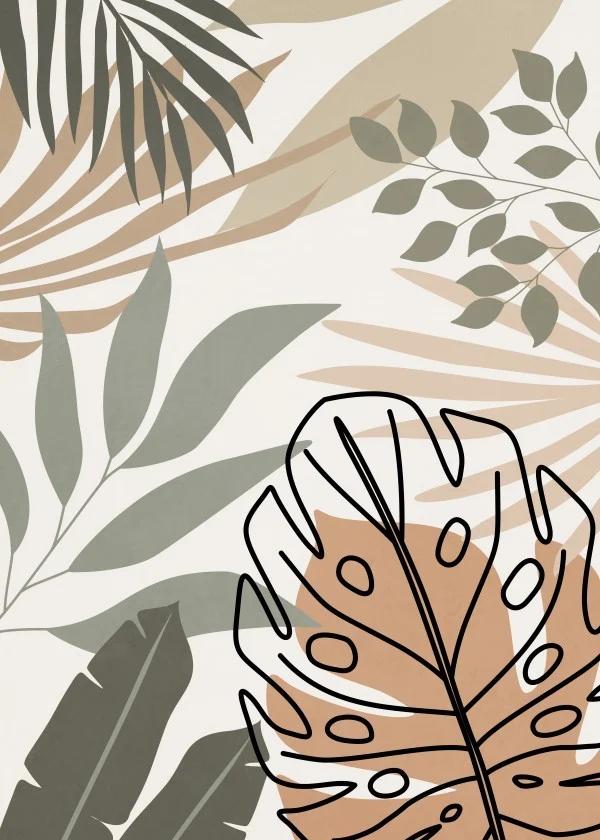 Quadro Decorativo - LEAVES AND SHAPES