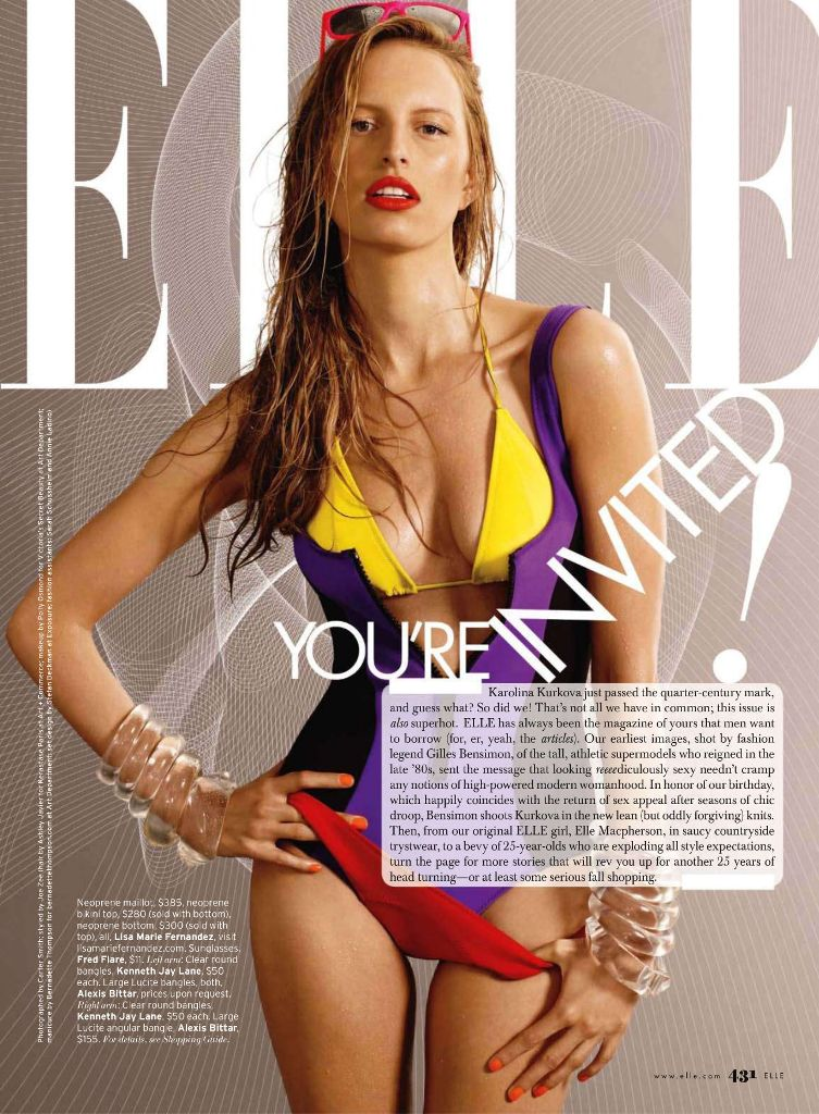 Karolina Kurkova by Gilles Bensimon for Elle US October 2010