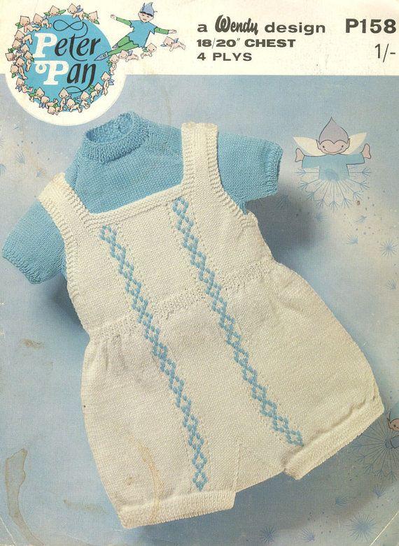Peter Pan 158 Vintage Baby Romper Suit Vintage Knitting