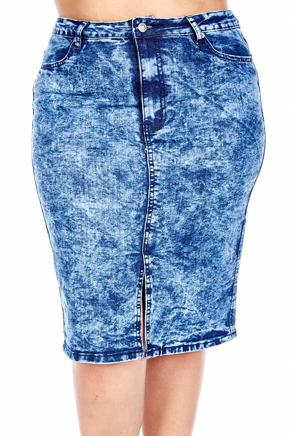 f20e06b2d94 Womens Plus Size Acid Wash Denim Slit Cut Pencil Skirt RJSK-148 -- This is  an Amazon Affiliate link. To view further for this item