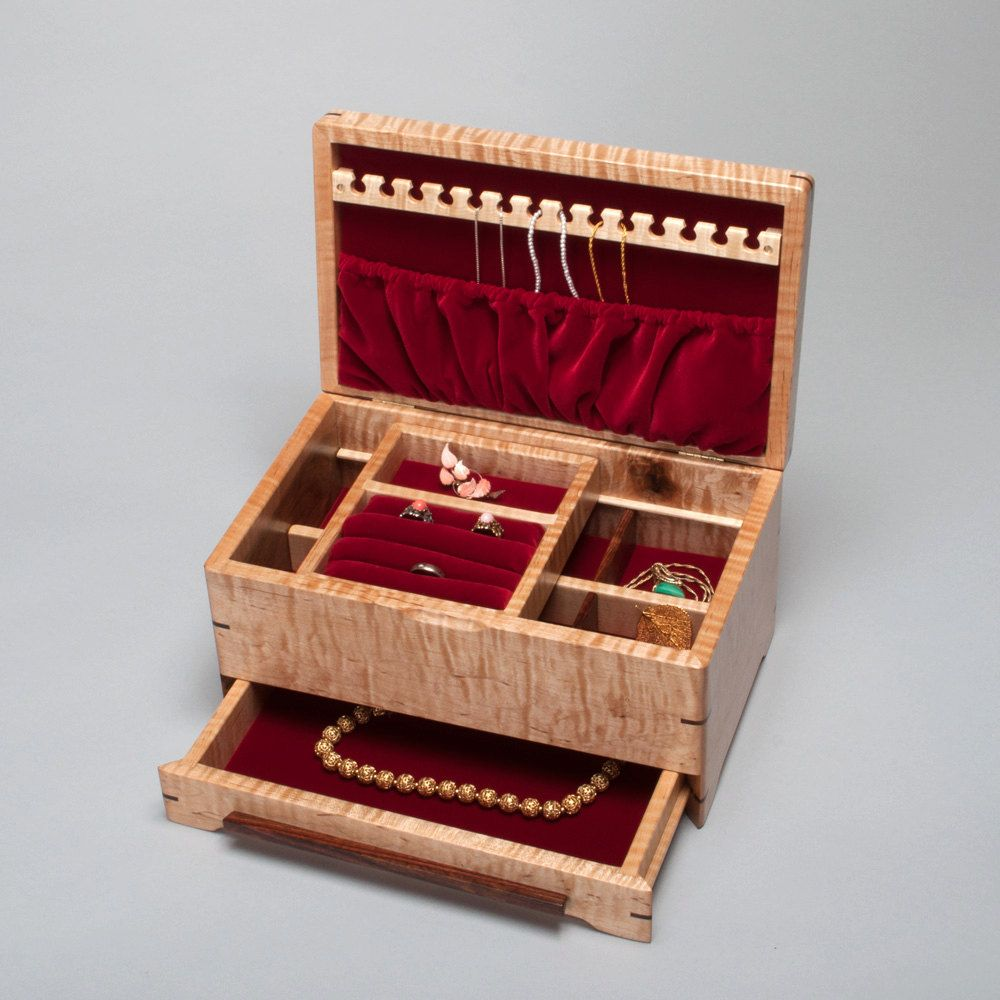 Jewelry Box for Ladies with Divider Ring Holder Necklace Hanger