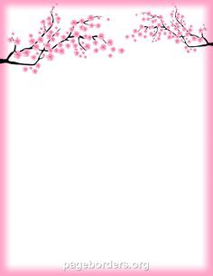 Printable Cherry Blossom Border Free Gif Jpg Pdf And Png Downloads At Http Pageborders Org Down Palm Tree Drawing Oak Tree Tattoo Forearm Oak Tree Tattoo