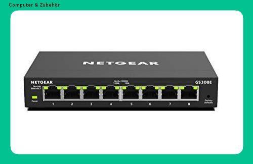Netgear Gs308e 8 Port Lan Gigabit Ethernet Switch Smart Managed Plus Netzwerk Switch Lufterlos Netzwerkkabel Verwaltung Heimnetzwerk