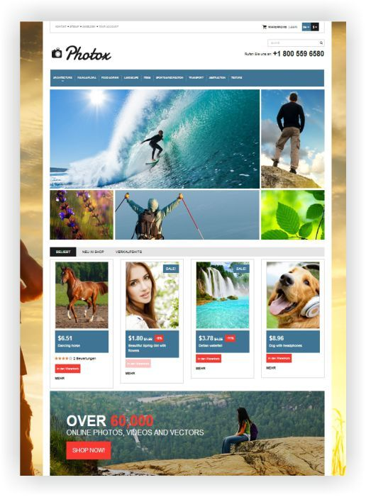 PrestaShop Photostock Template - Sell your work online! Download ...