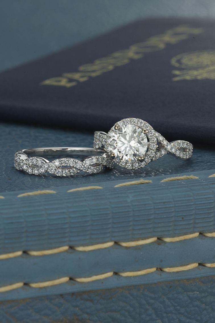 Halo infinity diamond engagement ring alongside round diamond ...