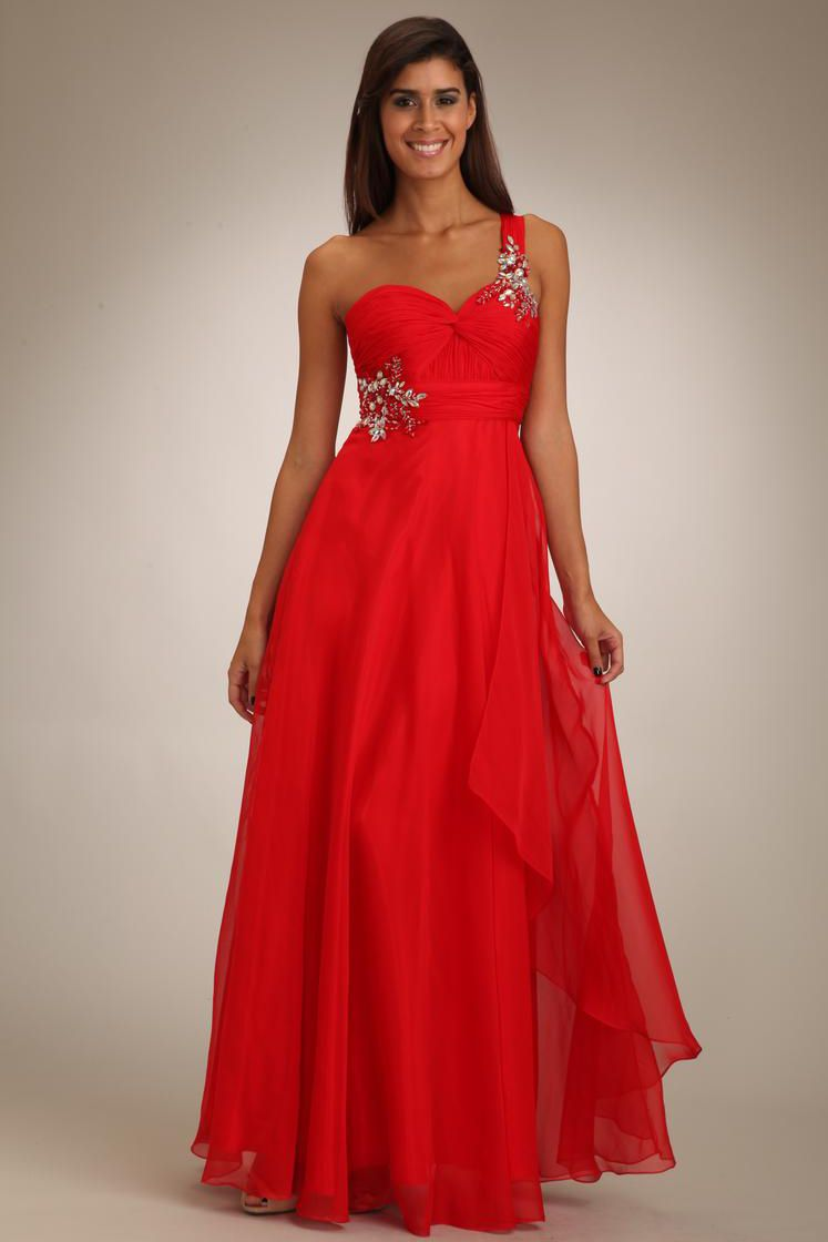 One shoudler red prom dress formal dresses pinterest prom and