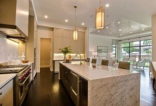 Modern Kitchen with Complex Marble, L-shaped, Breakfast bar, Complex marble counters, MS International Arabescus White Marble
