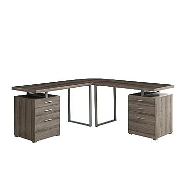 Monarch LShaped Desk With Storage Drawers Dark Taupe Daryls