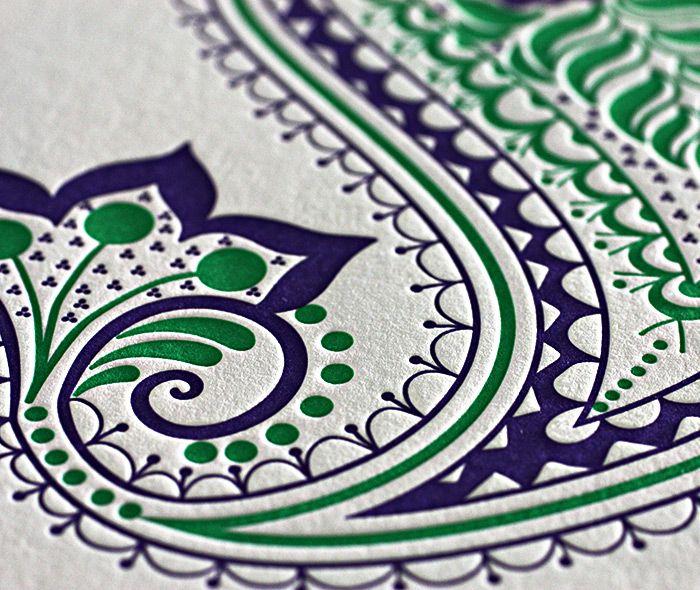 Paisley letterpress wedding invitation design regency hindu indian letterpress wedding card and stationery design gallery arti by invitations by ajalon stopboris Image collections