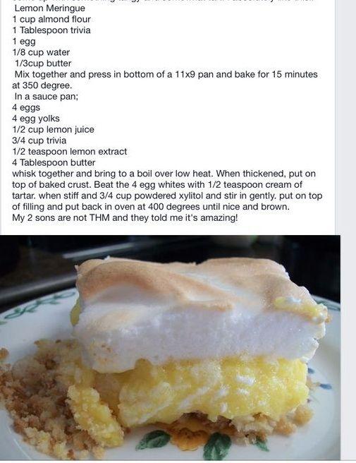 Thm - Trim Healthy Mama lemon meringue pie